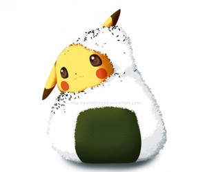pikachu, pokemon, and onigiri image