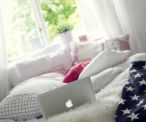 room, bed, and apple image