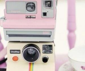 camera, pink, and polaroid image
