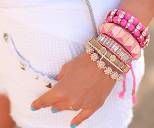 fashion, pink, and bracelet image