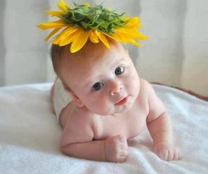 baby, smile, and sunflower image