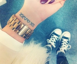 tattoo, nails, and converse image