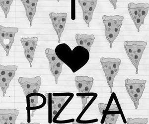 pizza, black and white, and food image