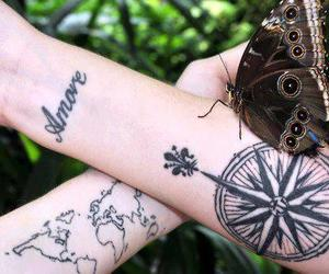 tattoo, butterfly, and compass image