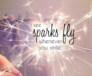 smile, sparks, and sparks fly image