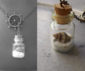 beach, Glass Bottle, and necklace image