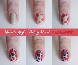 nails, tutorial, and flowers image