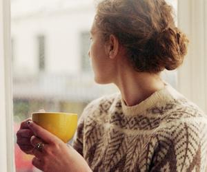 girl, sweater, and coffee image