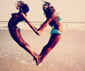 beach, friendship, and sand image
