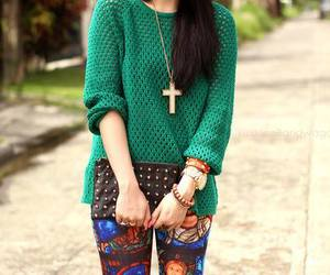 cross, fashion, and leggings image