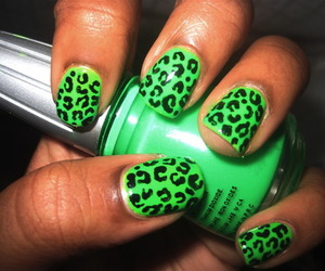nails, green, and leopard image