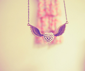 heart, wings, and necklace image