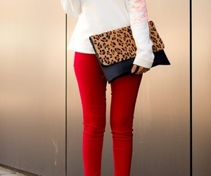 red, fashion, and white image