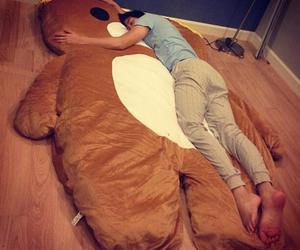 bear, sleep, and bed image