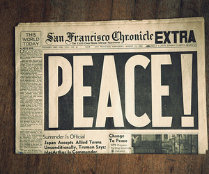 peace, newspaper, and vintage image