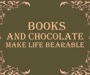 book, chocolate, and life image