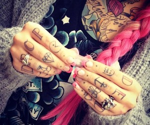 tattoo, pink hair, and pink image