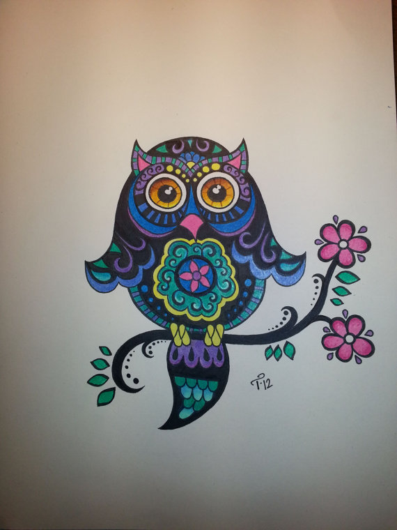 Custom Ink Drawing Color Commissioned Artwork HALF Page By Tarren