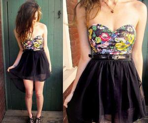 dress, black, and flowers image