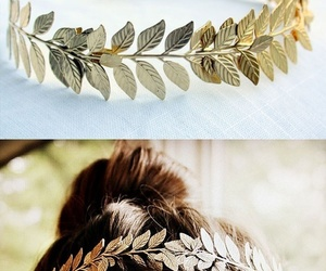 hair, gold, and leaves image