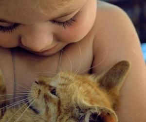 baby, cat, and cut image