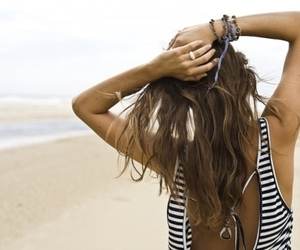 beach, brunette, and sea image
