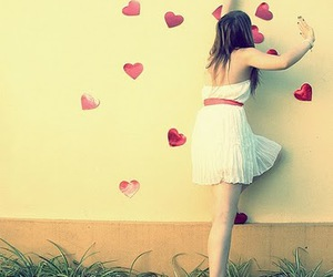 girl, heart, and hearts image