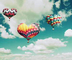 sky, heart, and balloons image