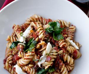 mozzarella, pasta, and pesto image