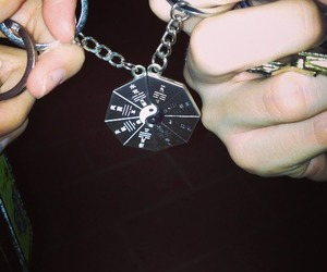 black and white, couple, and keychain image