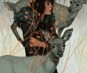 art, deer, and illustration image
