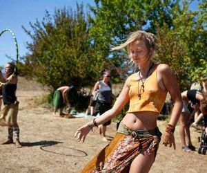 blonde, dancing, and hippie image