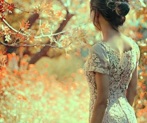 girl, tree, and autumn image