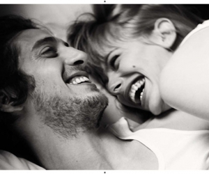 bed, laughing, and romance image
