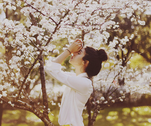 girl, flowers, and spring image