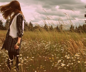 field, girl, and wind image