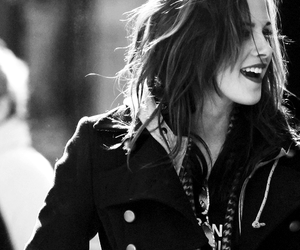 kristen stewart, smile, and black and white image