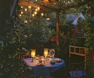 garden, light, and dinner image