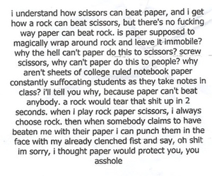 funny, Rock Paper Scissors, and Paper image
