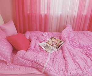 bed, pink, and photography image