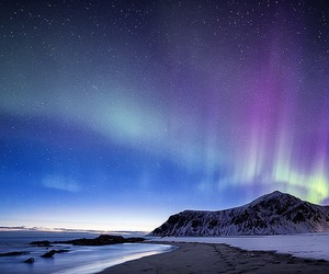 landscape, mountains, and aurora image