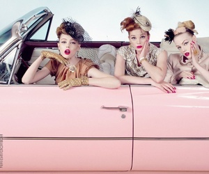 convertible, pink, and girls image