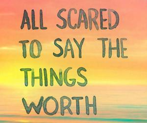 quote, scared, and worth image