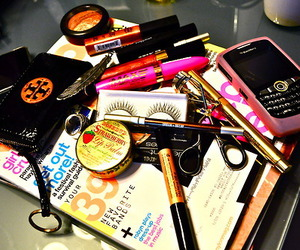 makeup, magazine, and blackberry image