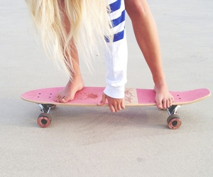 girl, pink, and skate image