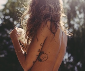 arm tattoo, girl, and long hair image