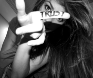 black and white, girl, and trust image