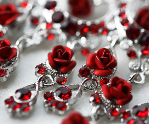 red, roses, and silver image