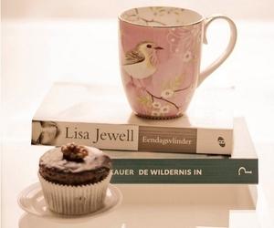 book, coffee, and cupcake image