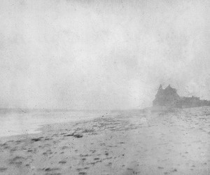 beach, black and white, and fog image